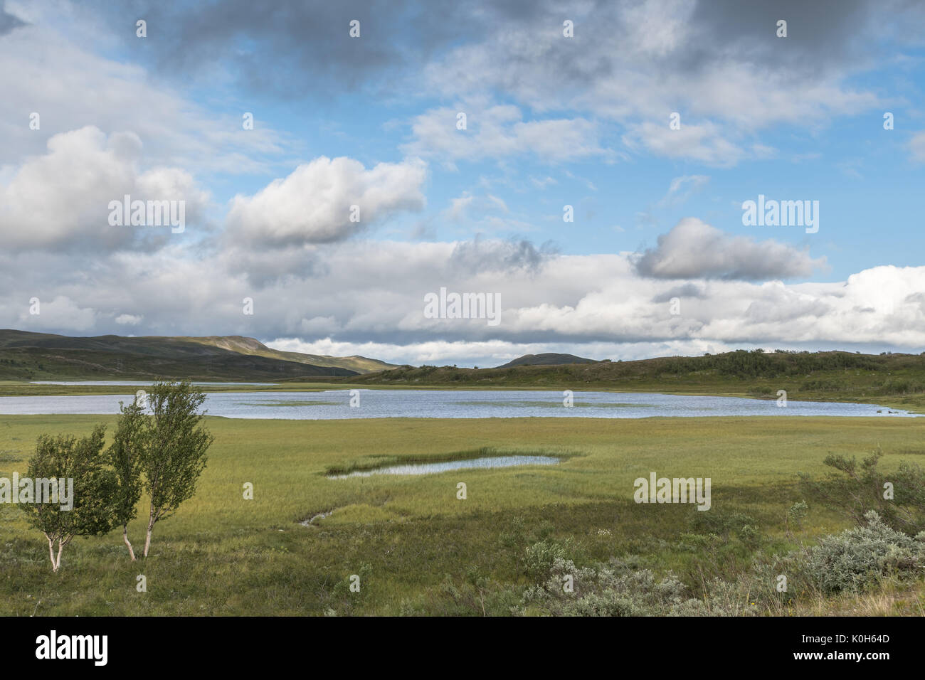 Small pond at the flat mountain in Alta Finnmark Norway - Stock Image