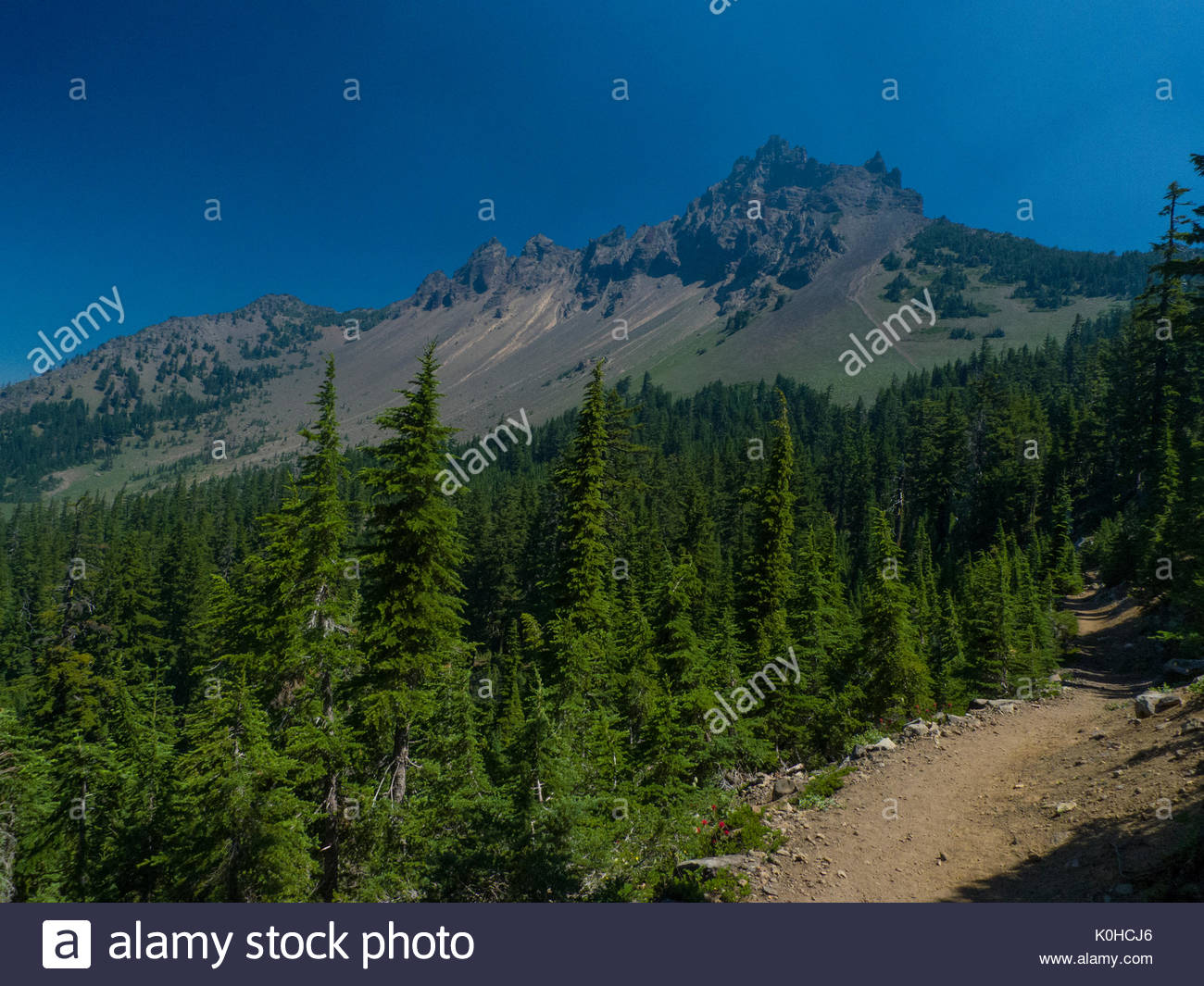 Three Finger Jack seen from the Pacific Crest Trail, Mount Jefferson Wilderness, Willamette National Forest, Linn County, Oregon, USA - Stock Image