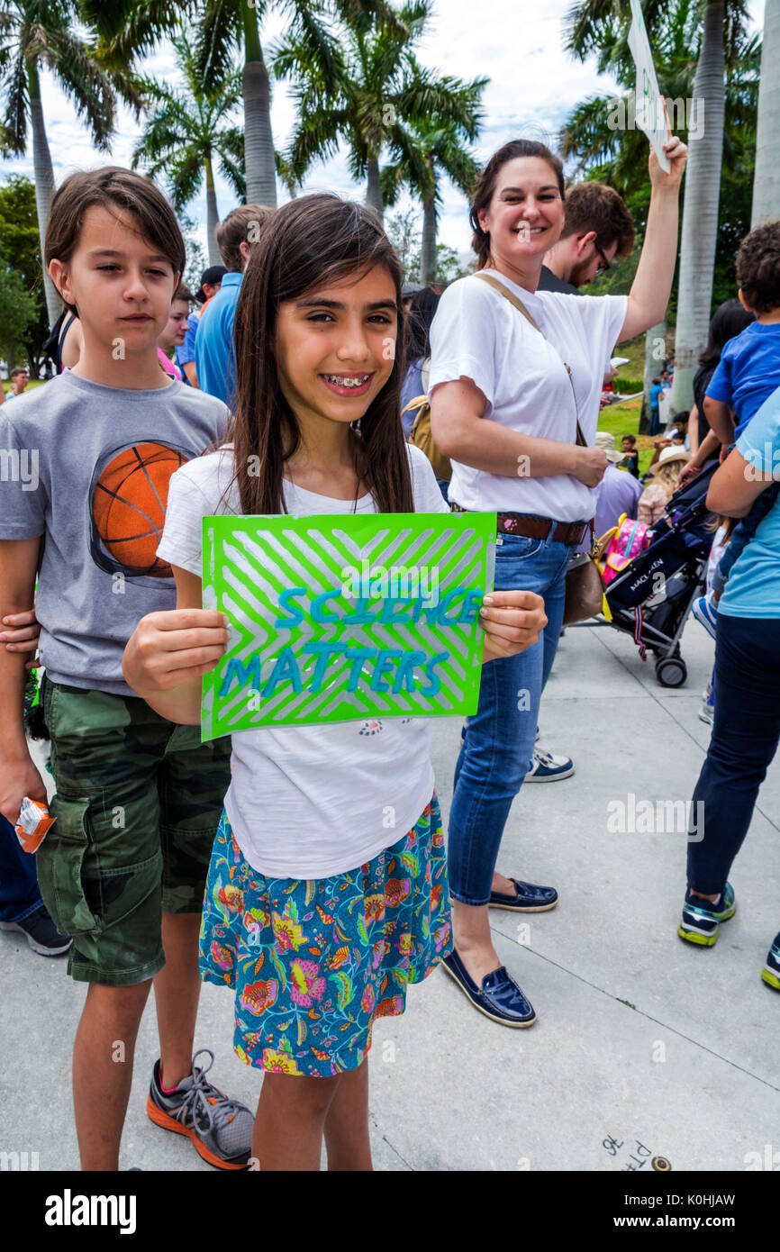 Miami Florida Museum Park March for Science protest rally sign poster protester girl student Stock Photo