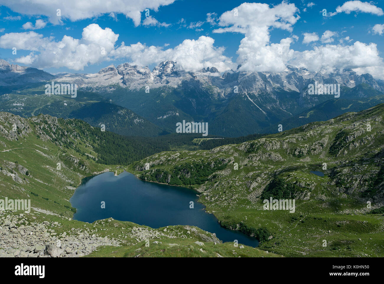 Madonna di Campiglio, Trentino, Italy. The Lake Ritorto with the Brenta mountain group - Stock Image