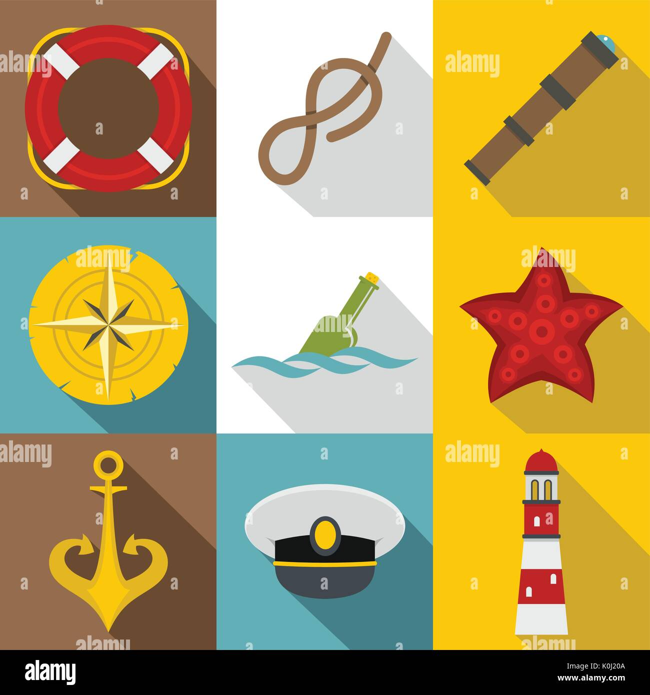 Sea captain icons set, flat style - Stock Image