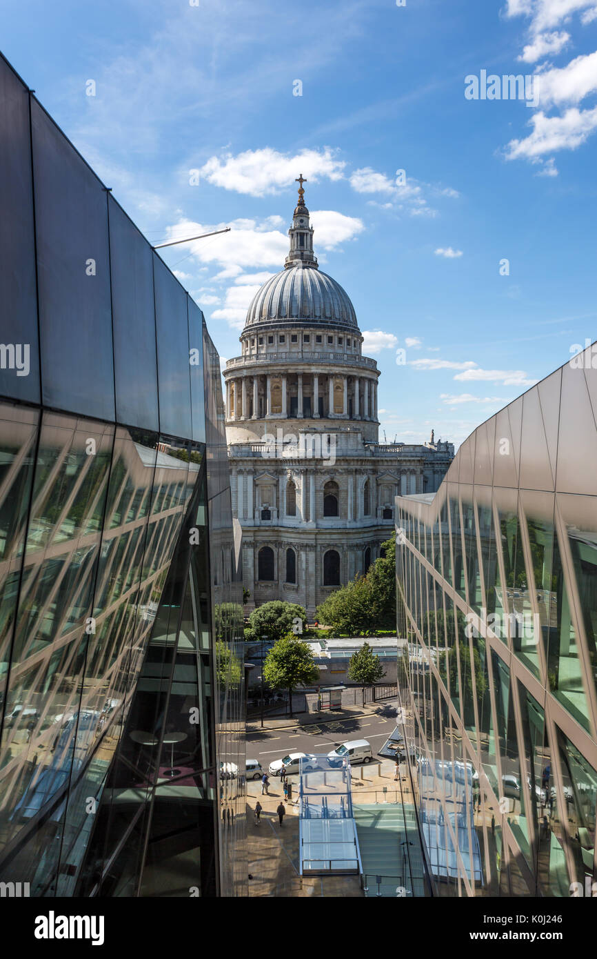 St Paul's Cathedral seen from One New Change, London, UK - Stock Image