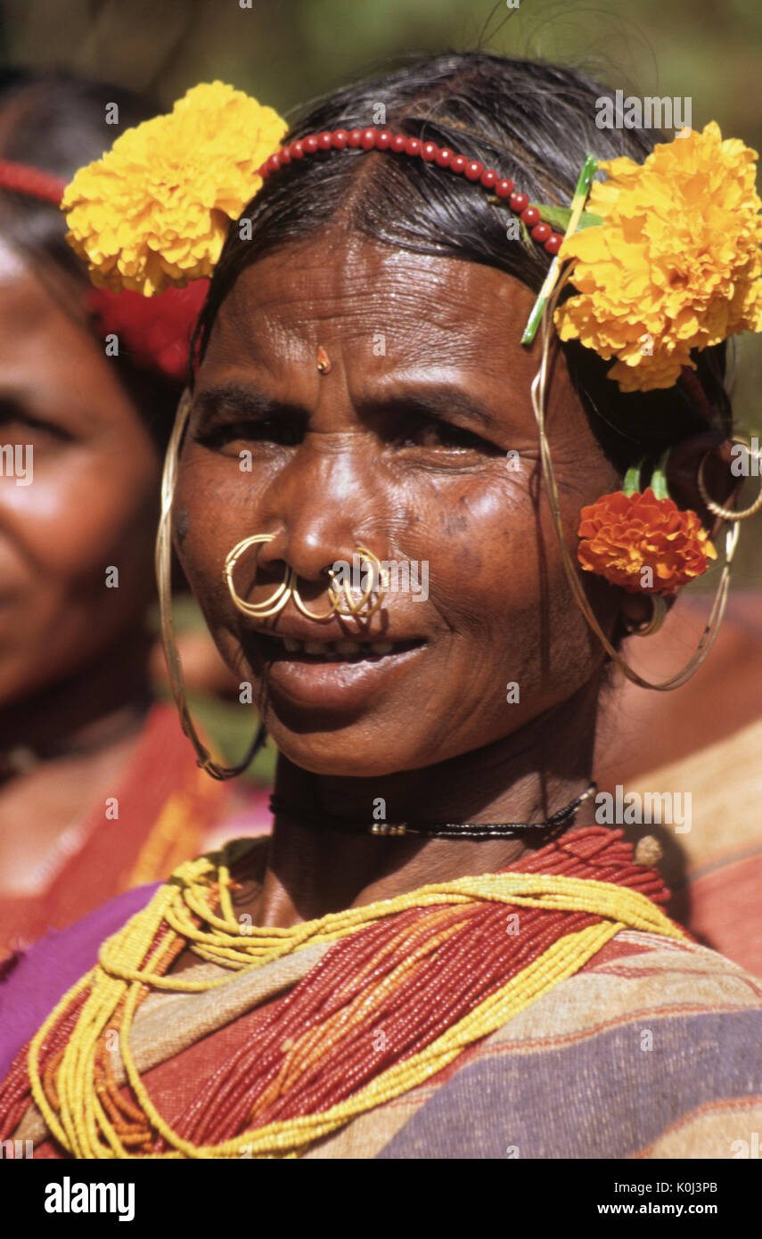 Gadba tribal woman in festival dress, Odisha (Orissa), India - Stock Image