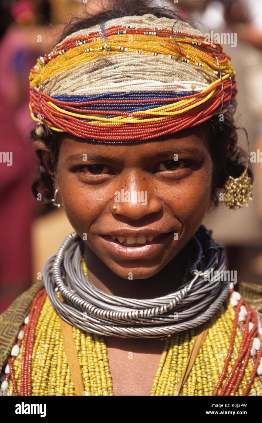 Bonda tribal girl, Onukudeloe, Odisha (Orissa), India - Stock Image
