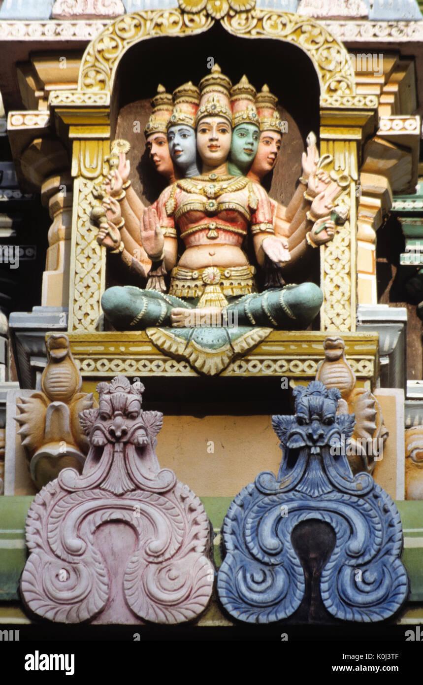 Architectural detail, Sri Meenakshi Hindu temple, Madurai, Tamil Nadu, India - Stock Image