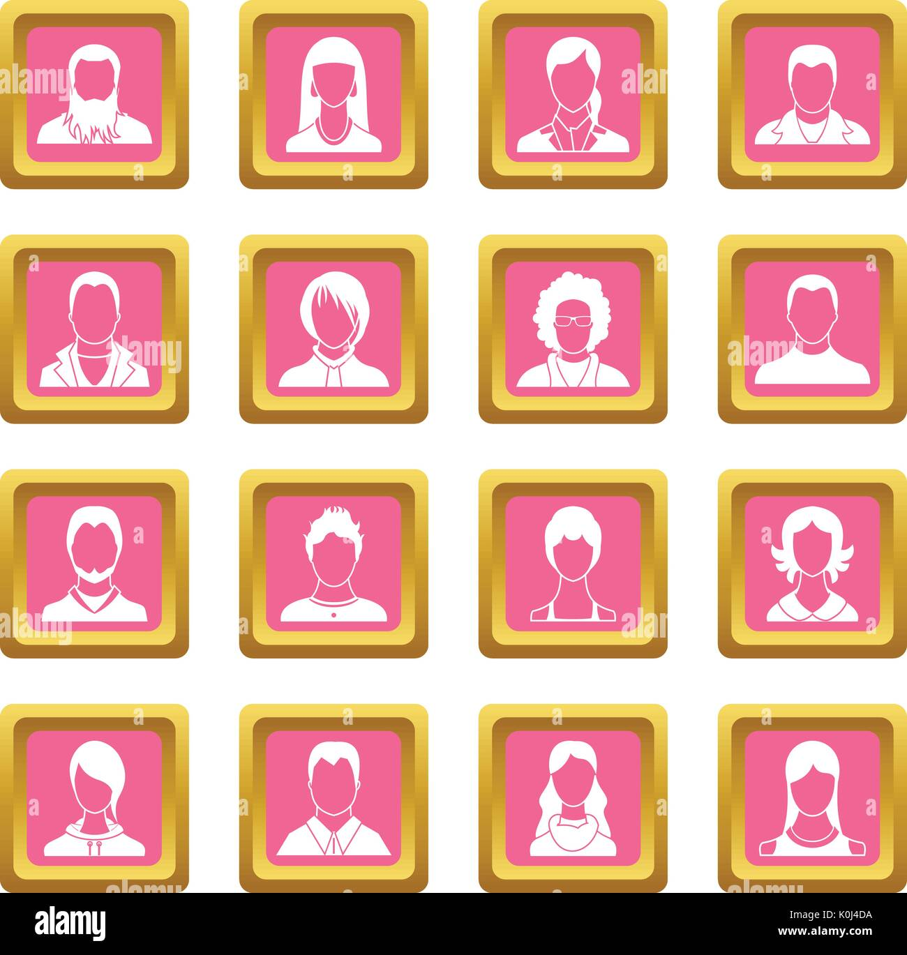 Avatars set icons pink - Stock Vector