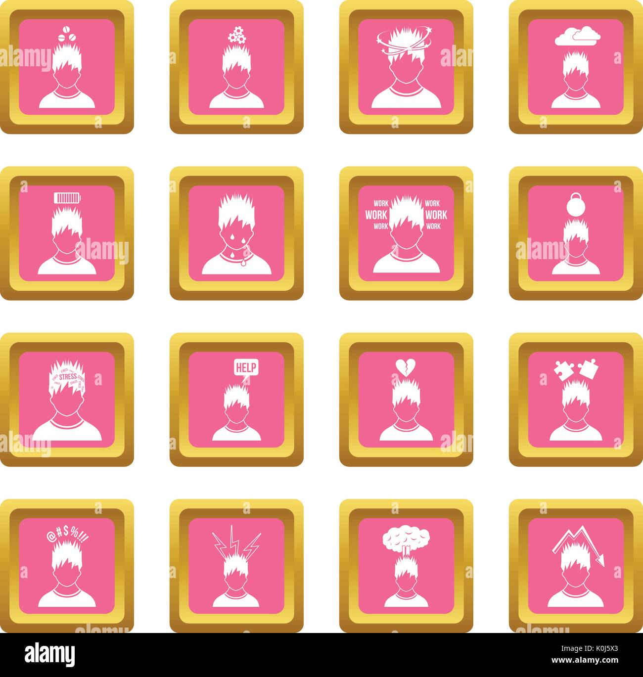 Stress icons pink Stock Vector