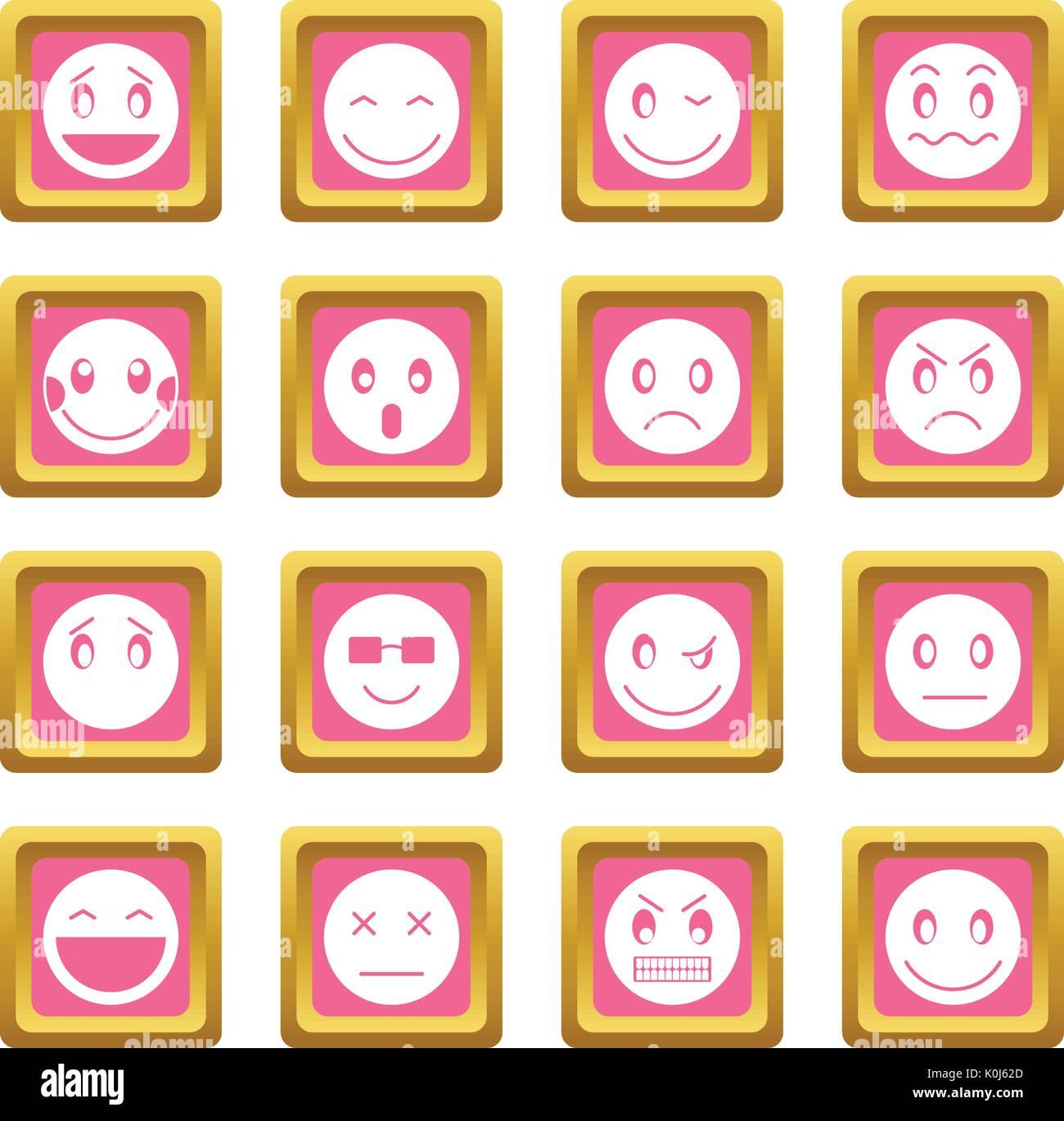 Emoticon icons pink - Stock Vector
