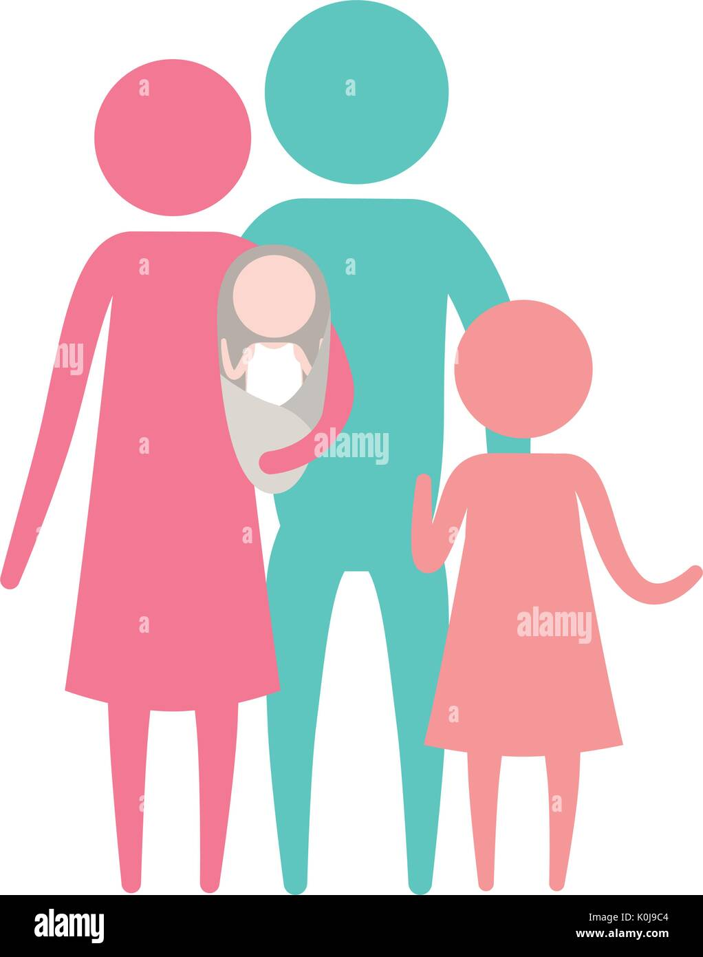 color silhouette set pictogram parents with a baby and little girl - Stock Vector