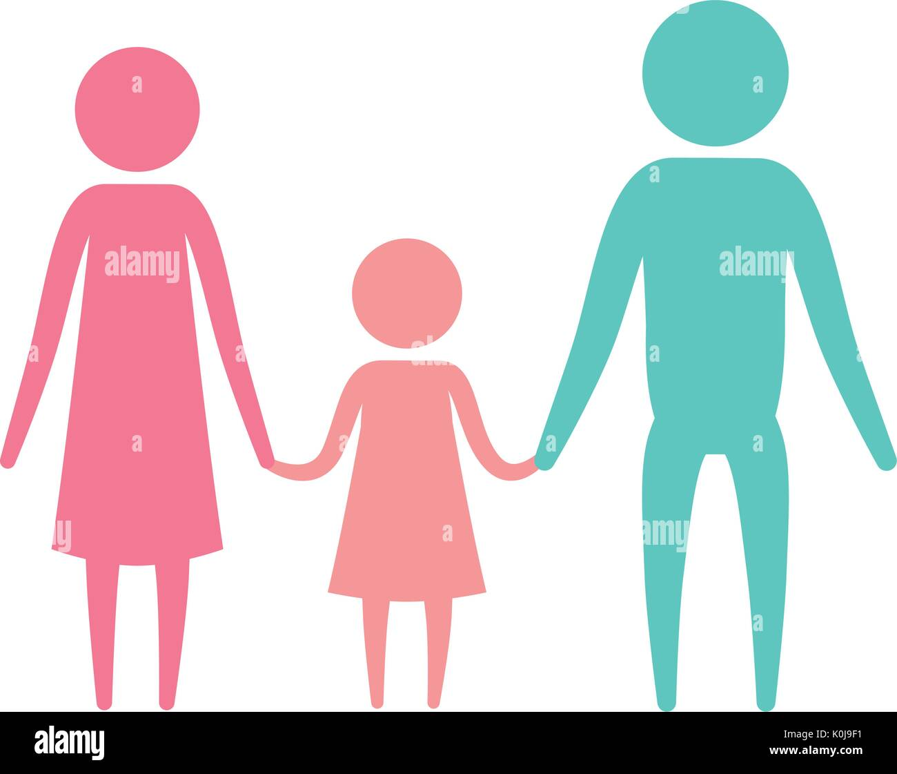 color silhouette set pictogram parents with a girl holding hands - Stock Vector