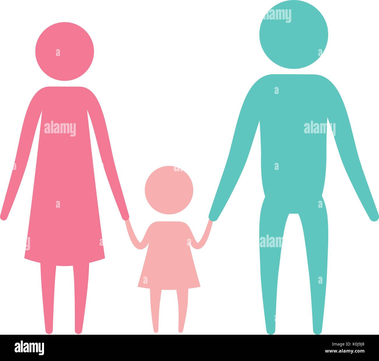 color silhouette set pictogram parents with a little girl holding hands - Stock Vector
