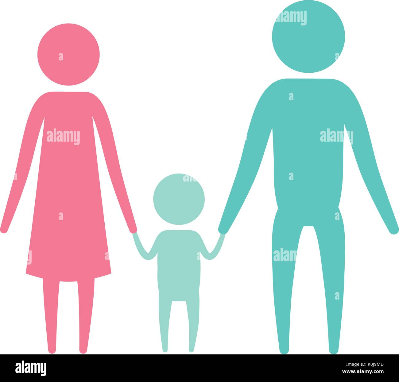color silhouette set pictogram parents with a little boy holding hands - Stock Vector