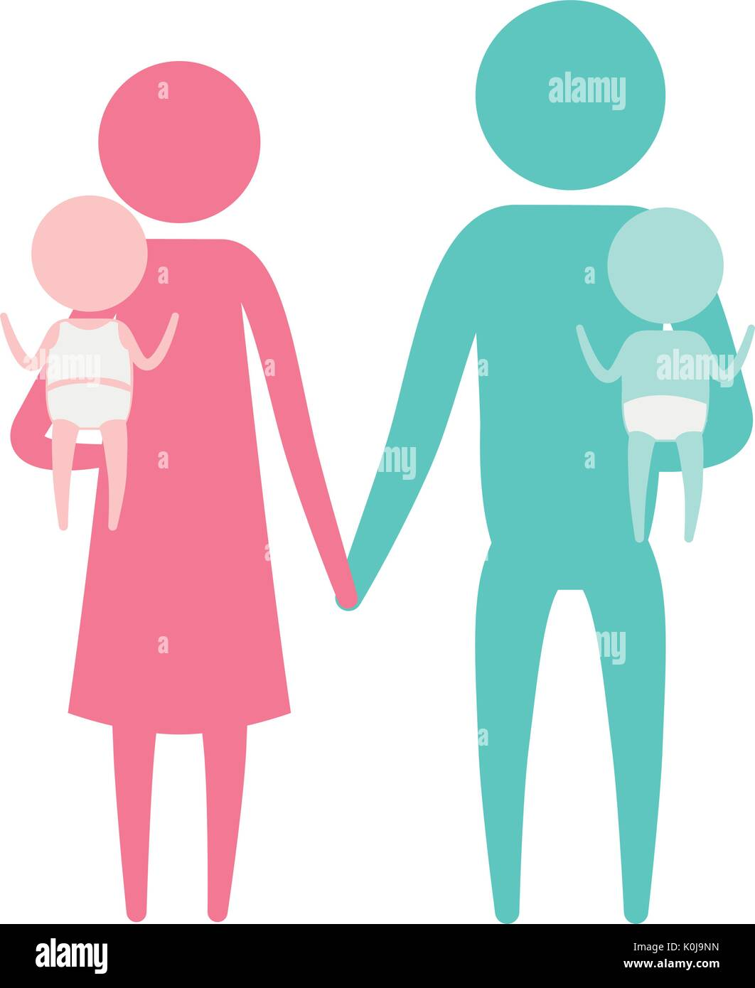 color silhouette set pictogram parents with a baby boy and girl carrying - Stock Image