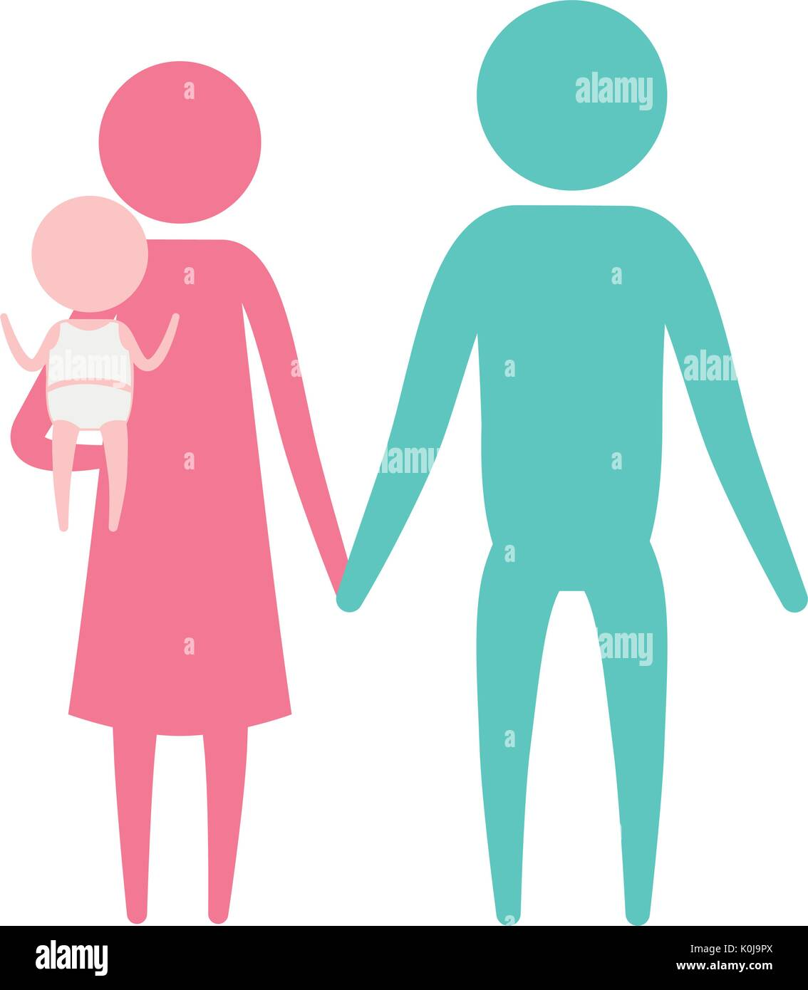 color silhouette set pictogram parents with a little girl carrying - Stock Vector