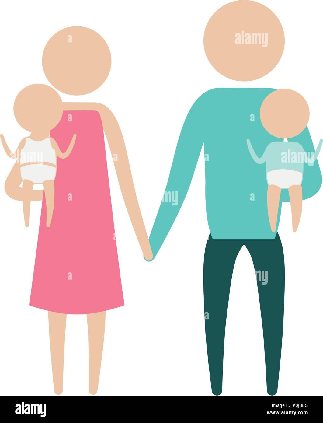 color silhouette pictogram parents with a baby boy and girl carrying - Stock Image