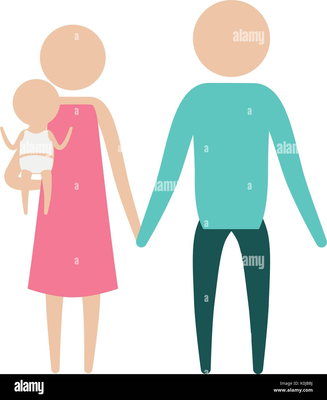 color silhouette pictogram parents with a little girl carrying - Stock Image