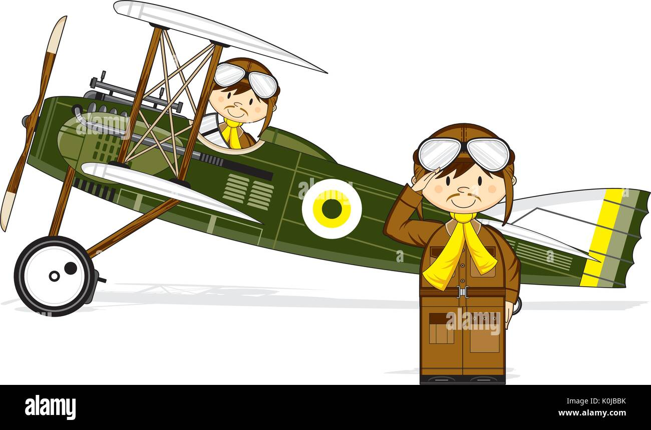 Cartoon Vintage Bi Plane and Pilots Vector Illustration - Stock Vector