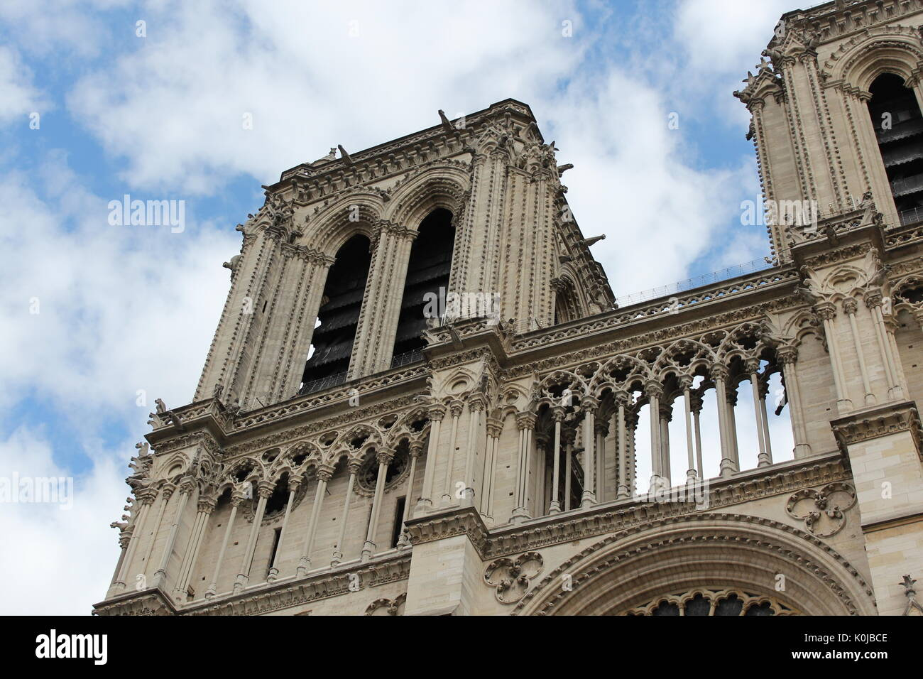 Notre Dame Cathedral taken from below on 2015, Paris - Stock Image