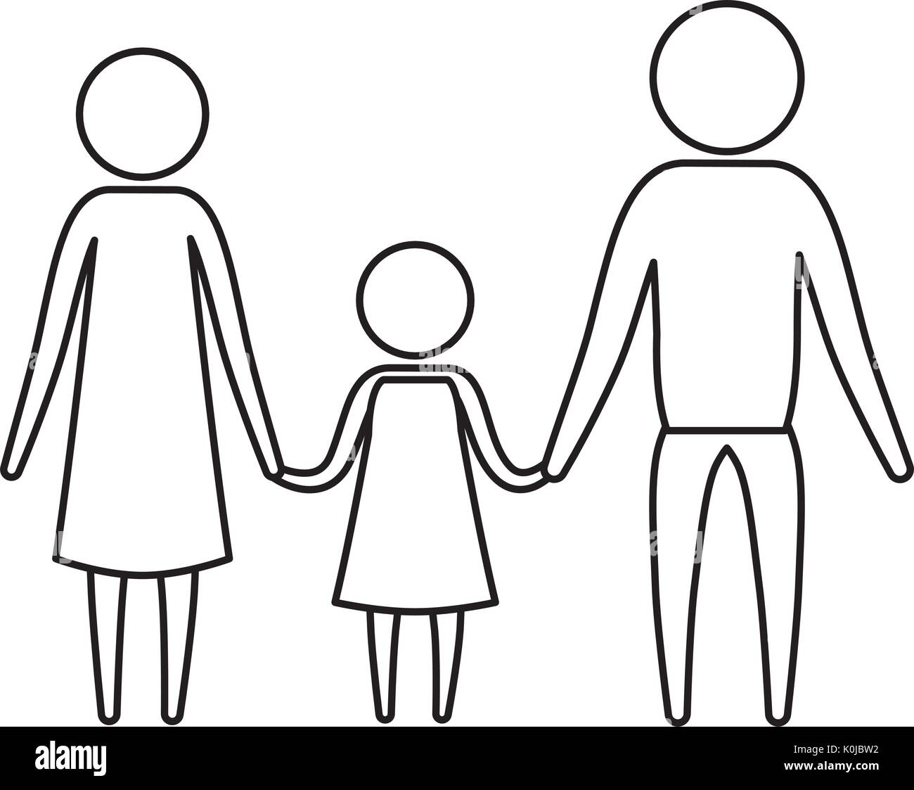 sketch silhouette of pictogram parents with a girl holding hands - Stock Image