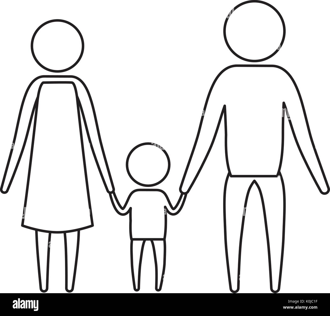 sketch silhouette of pictogram parents with a little boy holding hands in clothes - Stock Image