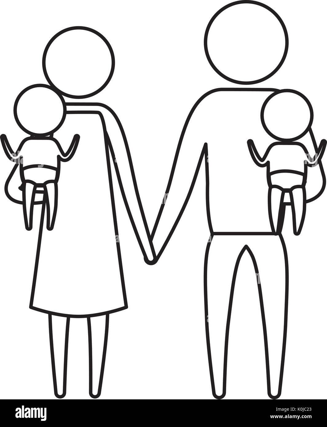 Sketch Silhouette Of Pictogram Parents With A Baby Boy And Girl