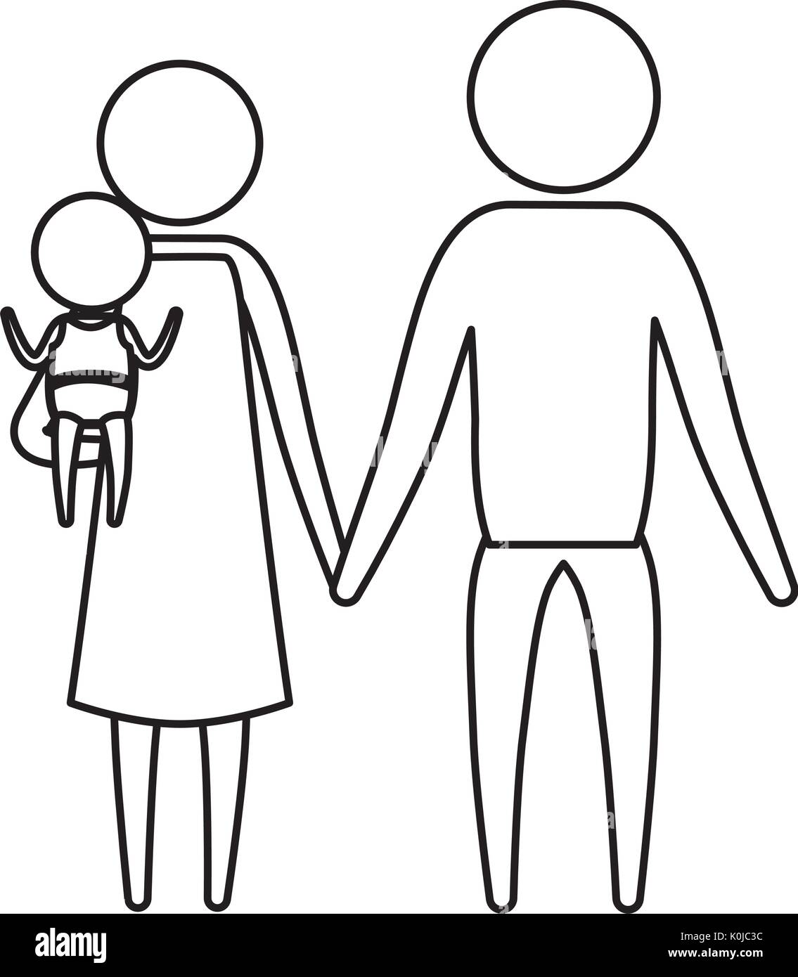 sketch silhouette of pictogram parents with a little girl carrying - Stock Vector
