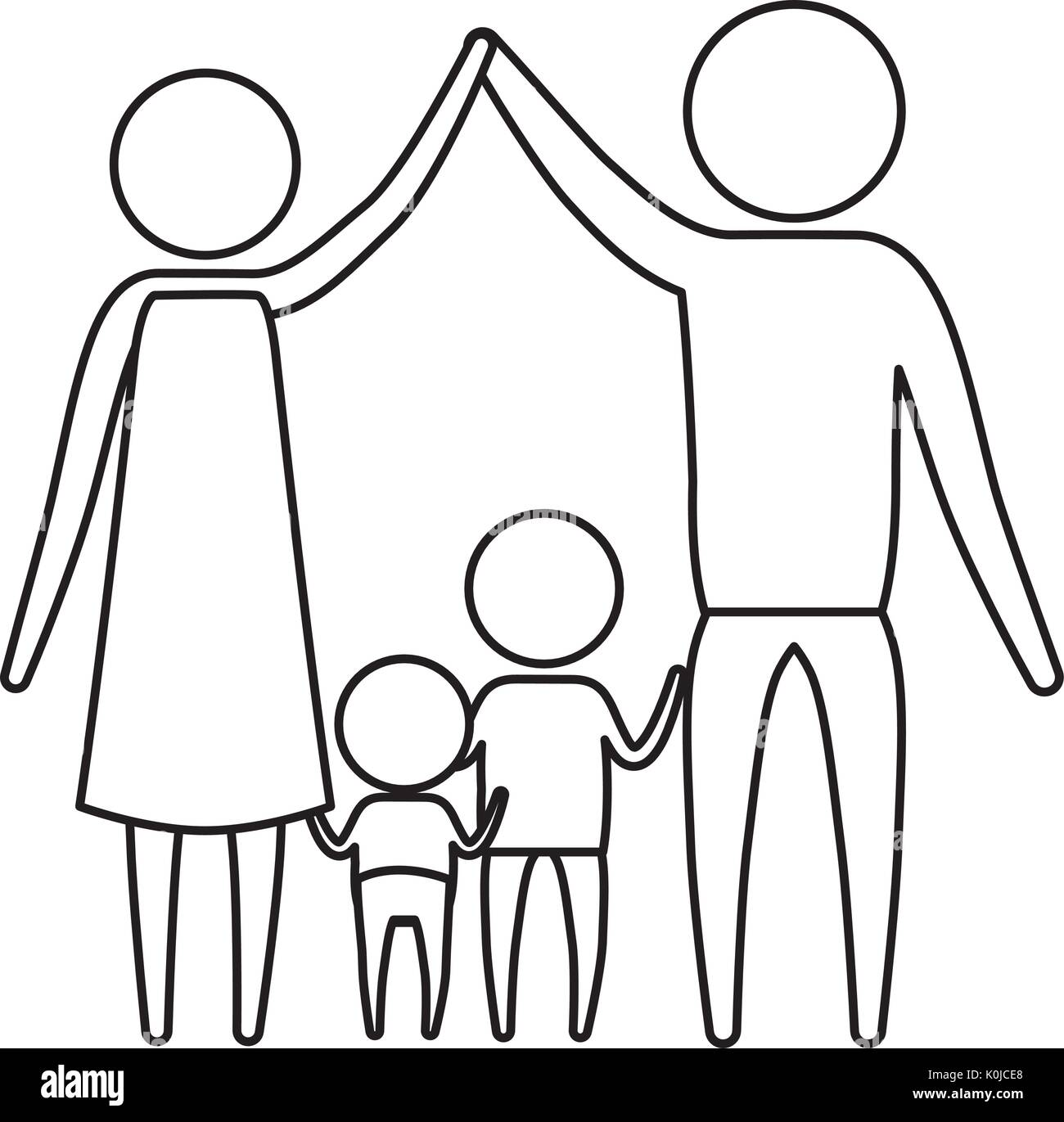Sketch silhouette of pictogram parents holding hands up and baby girl and boy in the middle of them