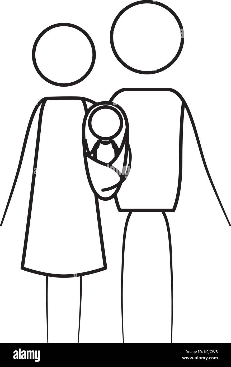 Sketch thin contour of pictogram parents with a baby girl wrapped in a blanket