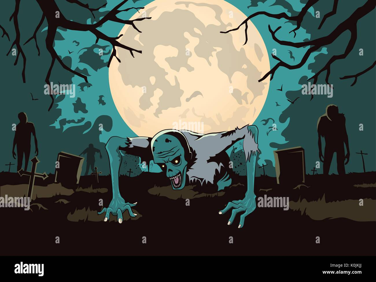 Zombie out of the grave on silhouette background in horror theme. - Stock Vector