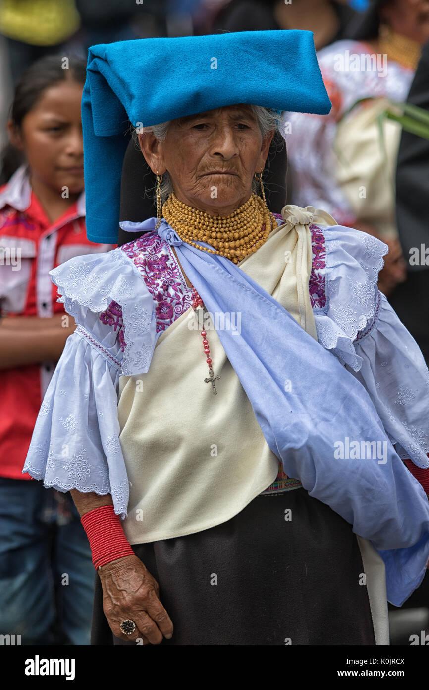 July 1, 2017 Cotacachi, Ecuador: traditionally dressed older Kichwa woman at Punchi Warmi celebration - Stock Image
