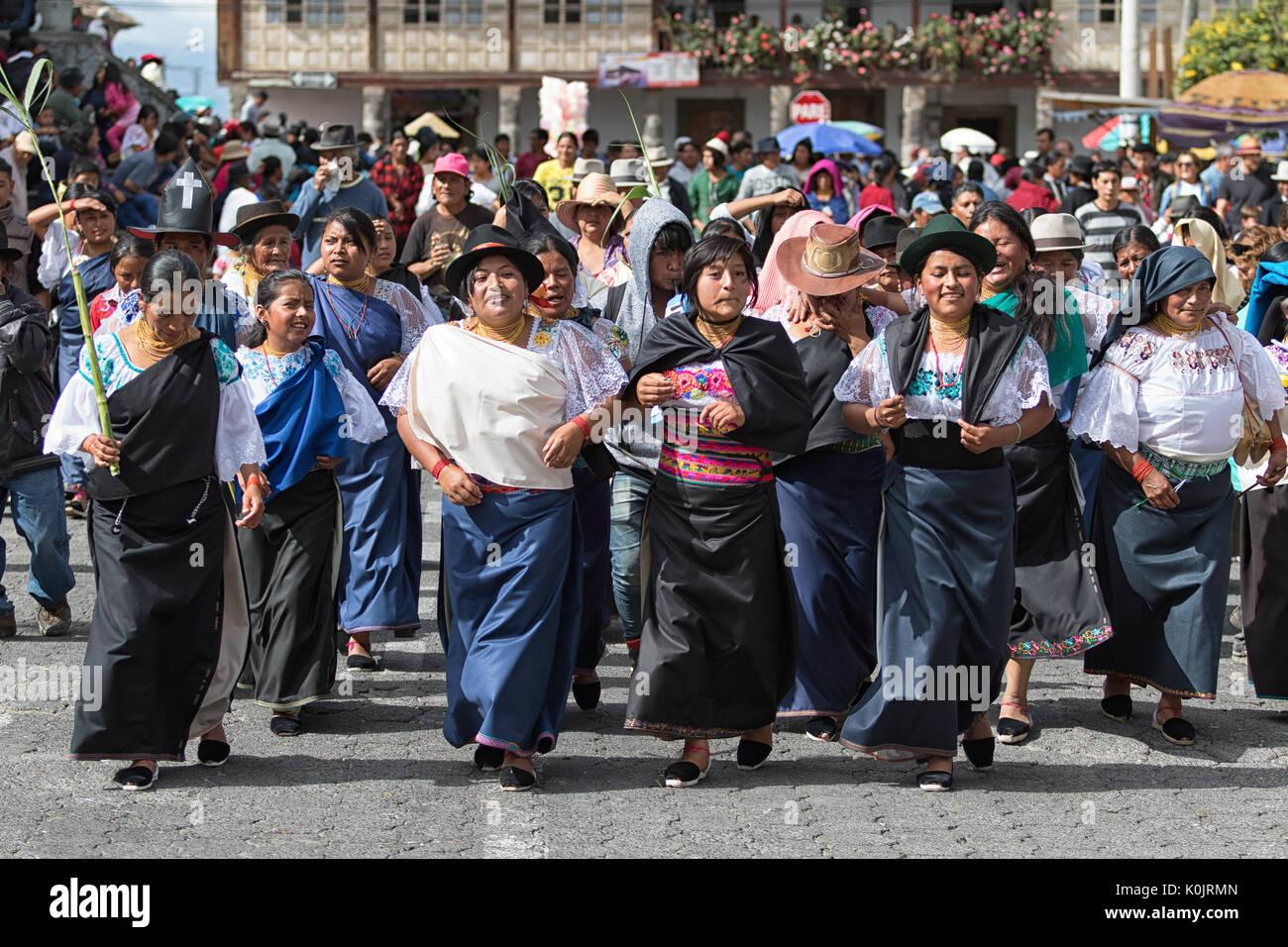 July 1, 2017 Cotacachi, Ecuador: traditionally dressed Kichwa woman portrait during Punchi Warmi celebration - Stock Image