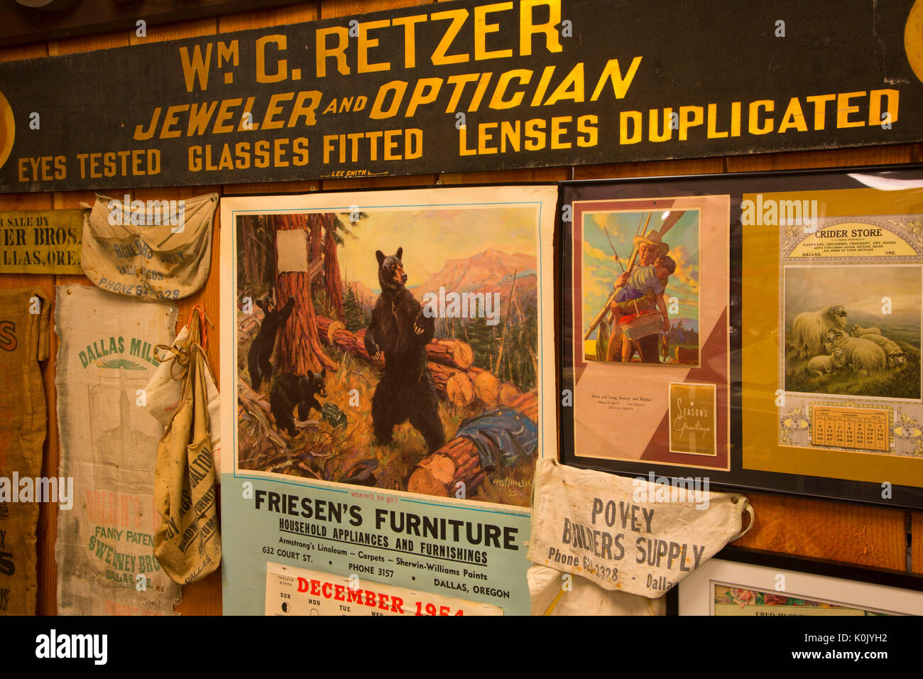 Early industries display, Polk County Museum, Rickreall, Oregon - Stock Image