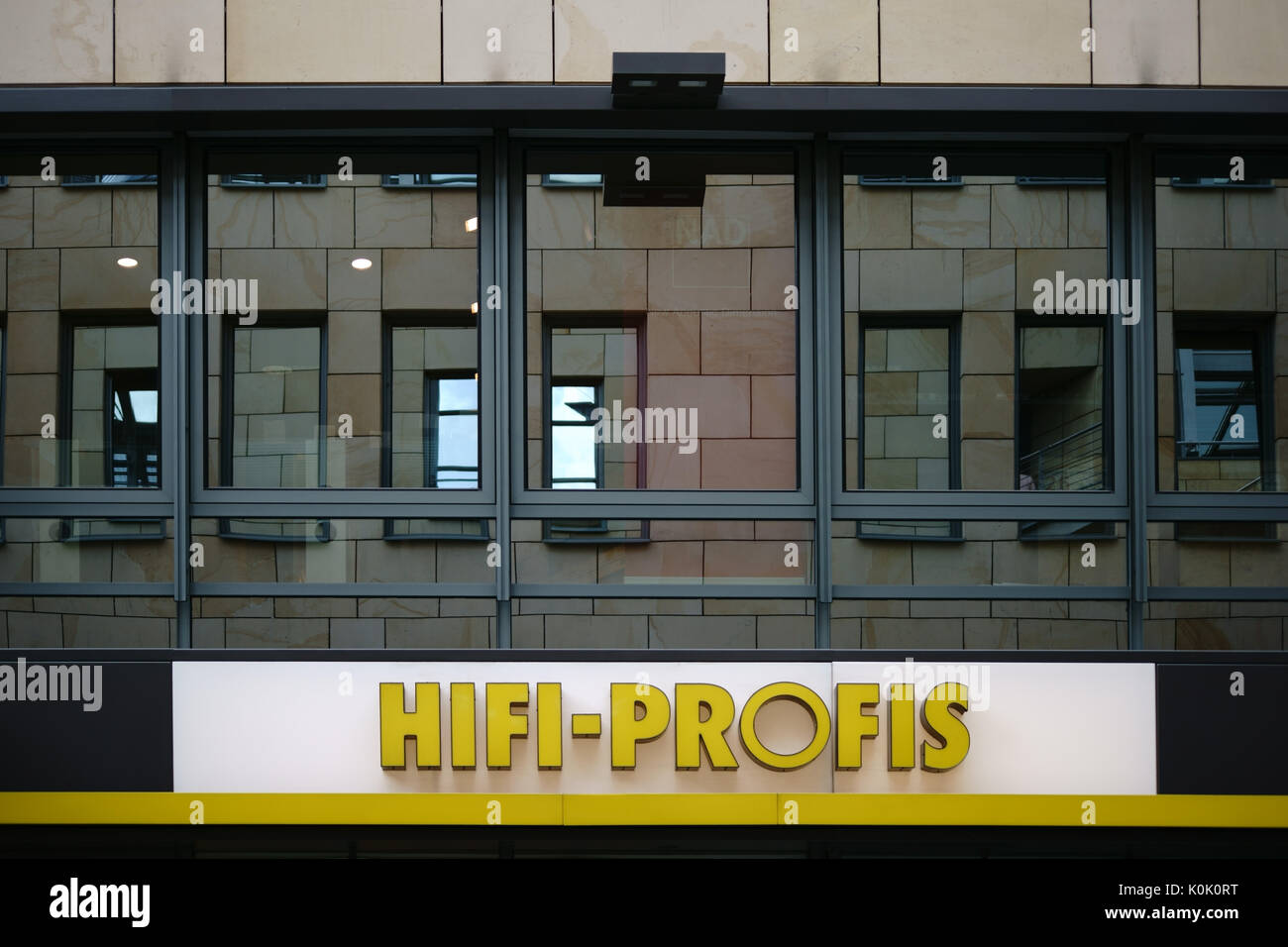 Mainz, Germany - August 21, 2017: The company logo of the electronics store for hi-fi products, the Hifi Profis on August 21, 2017 in Mainz. - Stock Image