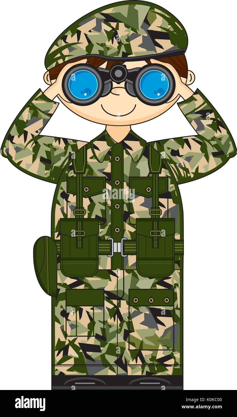 Cartoon Military Camouflaged Army Soldier with Binoculars