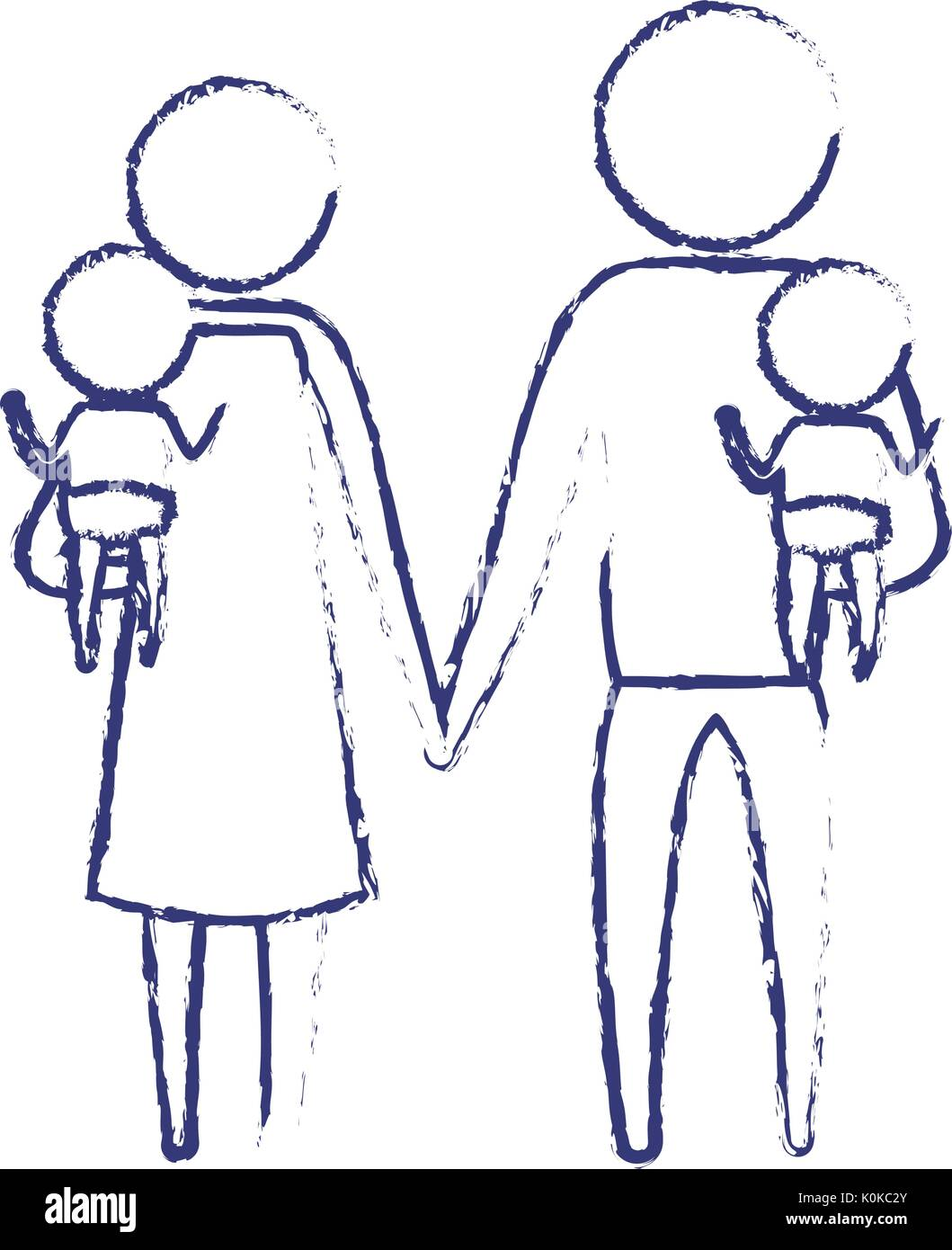 Blurred Blue Silhouette Of Pictogram Parents With A Baby Boy And