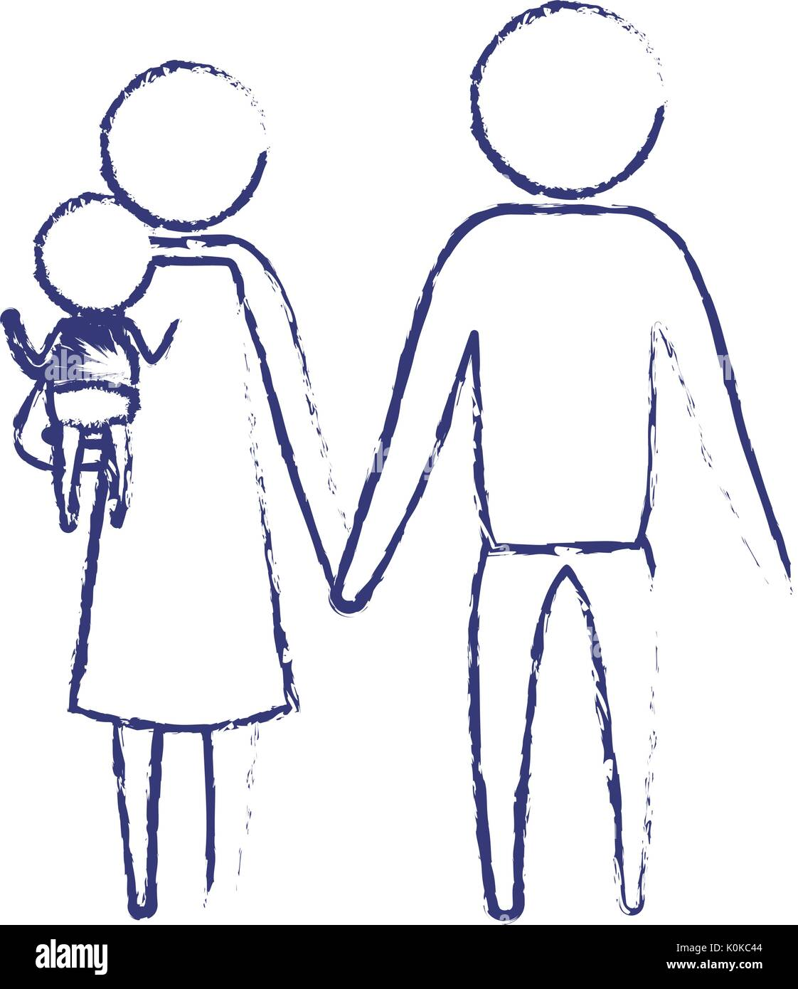 blurred blue silhouette of pictogram parents with a little baby carrying - Stock Image