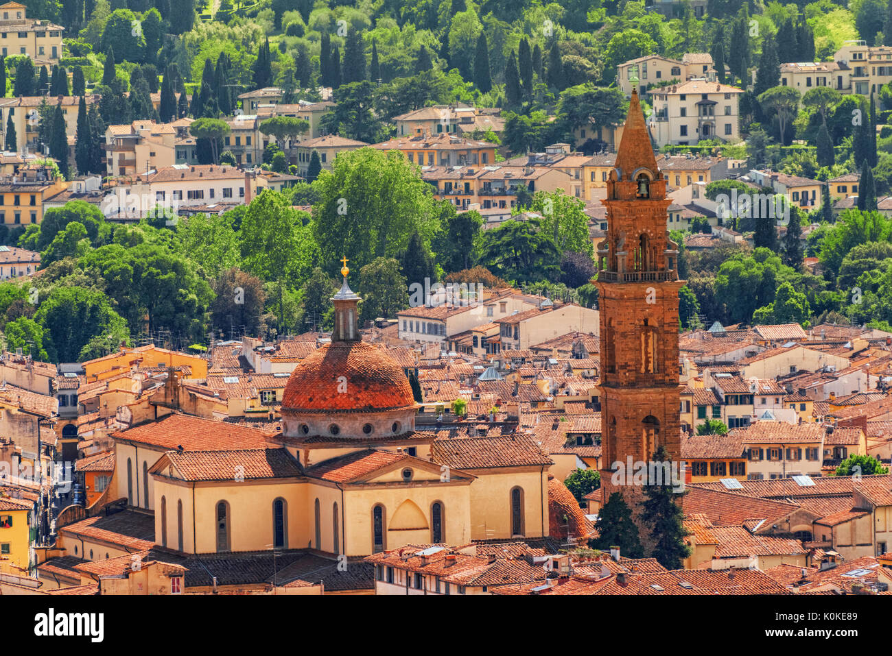 Beautiful landscape above urban and historical view of the Florence from Giotto's Belltower (Campanile di Giotto). Santo Spirito Temple (Basilica di S - Stock Image