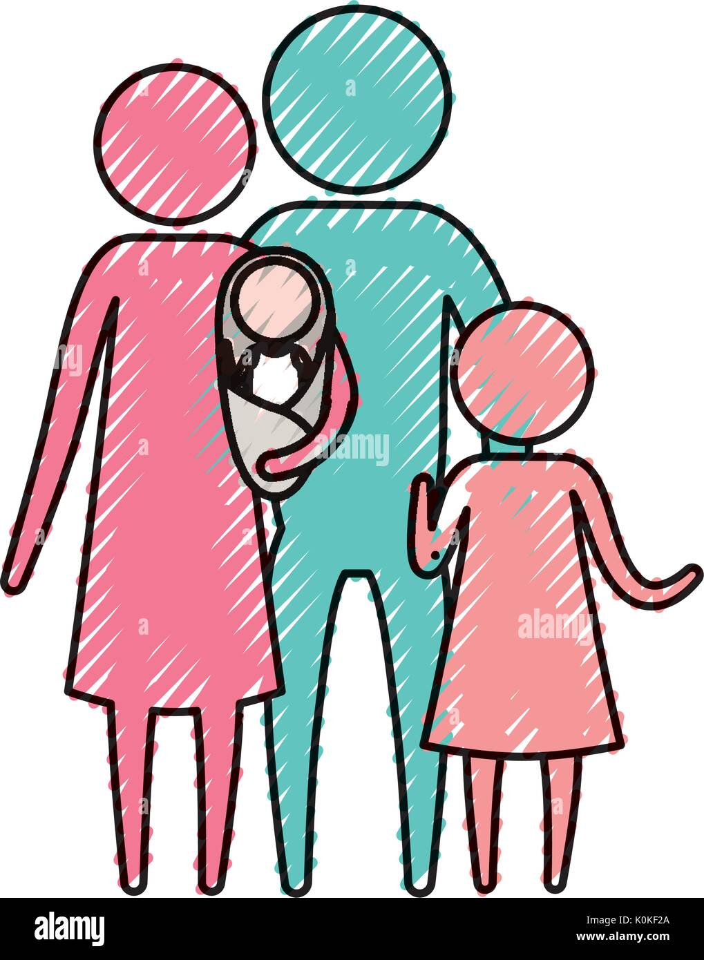 color crayon silhouette pictogram parents with a baby and little girl - Stock Vector