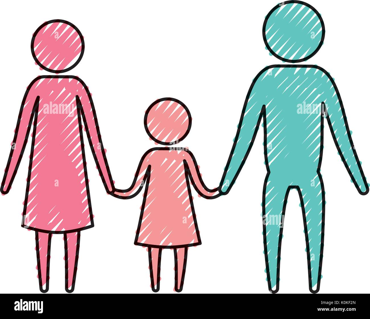 color crayon silhouette pictogram parents with a girl holding hands - Stock Image
