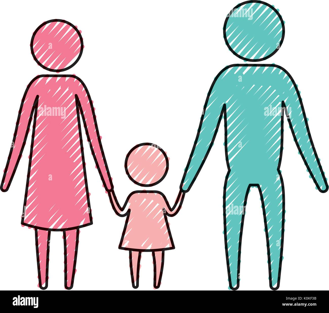 color crayon silhouette pictogram parents with a little girl holding hands - Stock Image