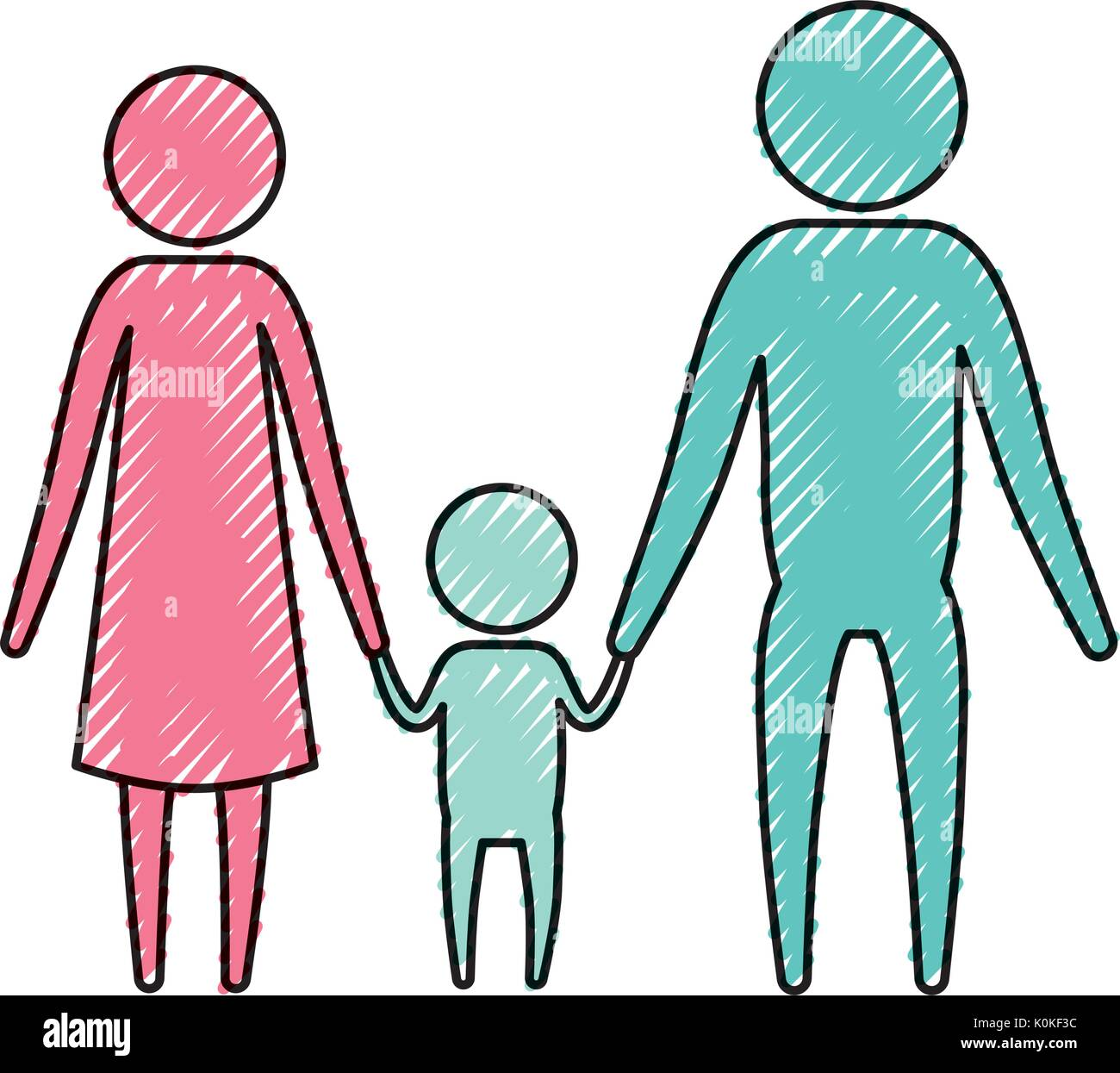 color crayon silhouette pictogram parents with a little boy holding hands - Stock Vector