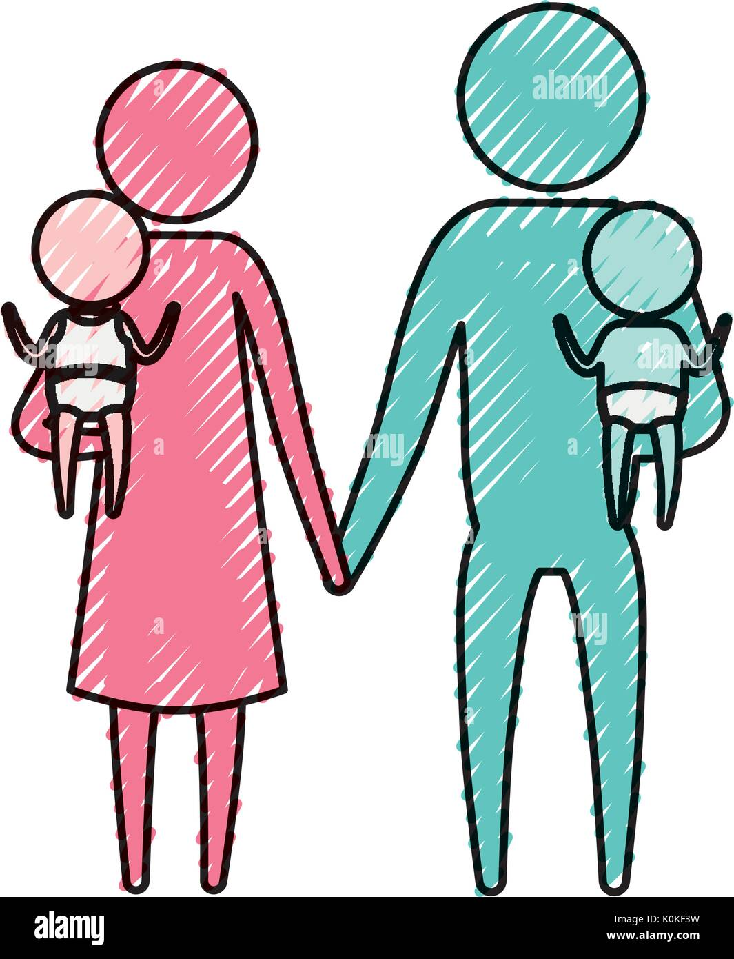 color crayon silhouette pictogram parents with a baby boy and girl carrying - Stock Image