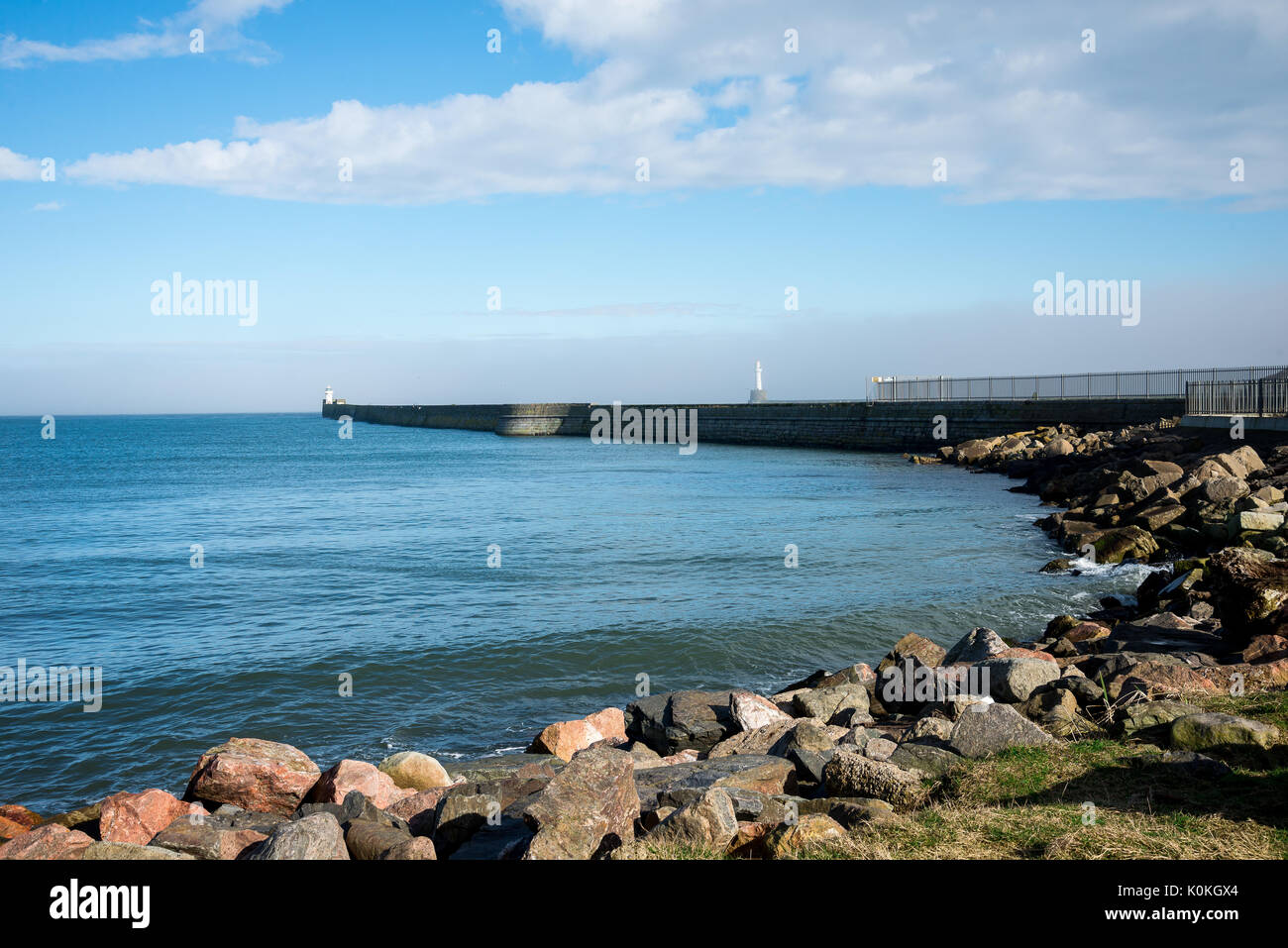 Lighthouses at piers in Aberdeen Harbour entrance, Scotland - Stock Image