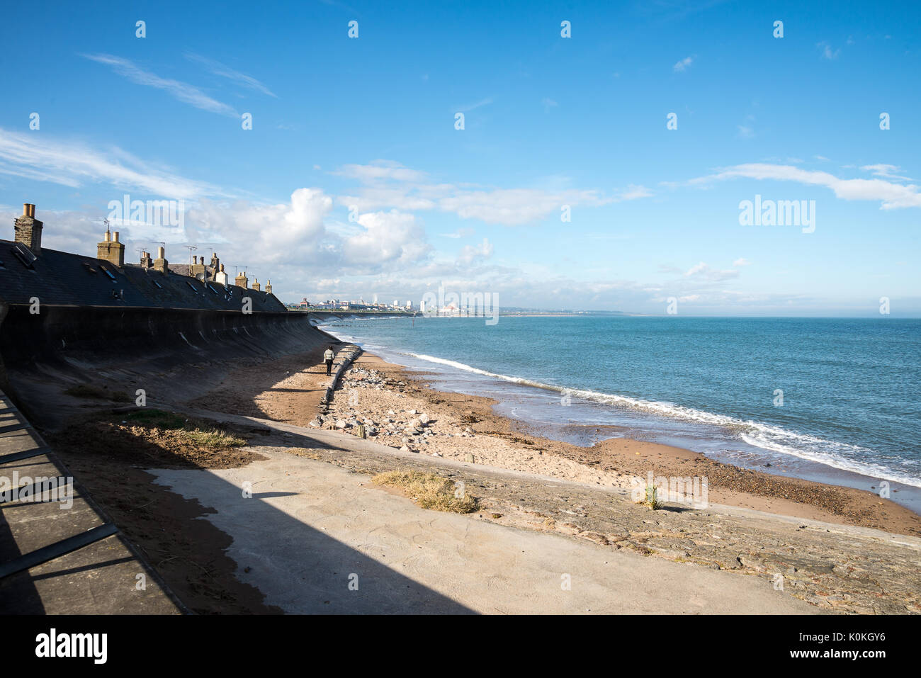 A view of Aberdeen Beach and city in a distance, Scotland - Stock Image