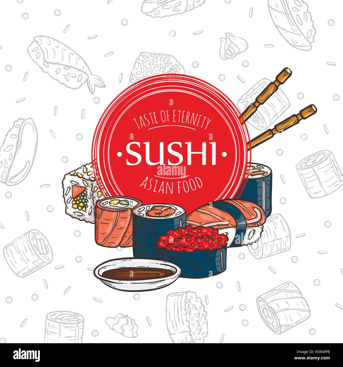 Doodle Sushi Restaurant And Delivery Design Template Asian Food Stock Vector Image Art Alamy