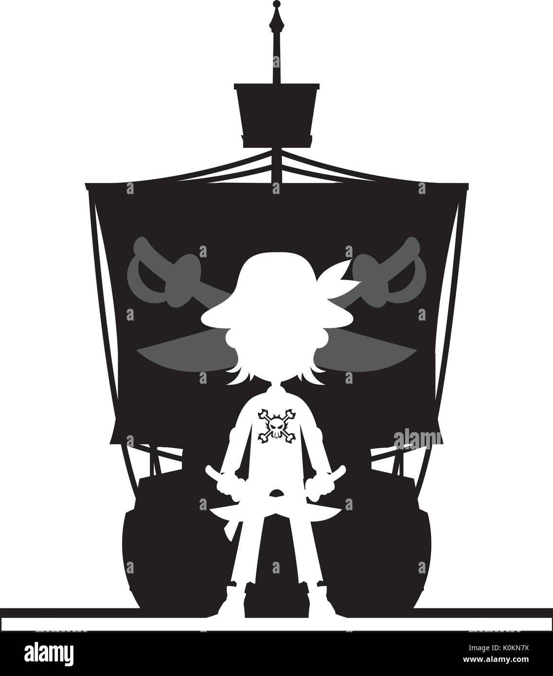Pirate Ship Silhouette Vector