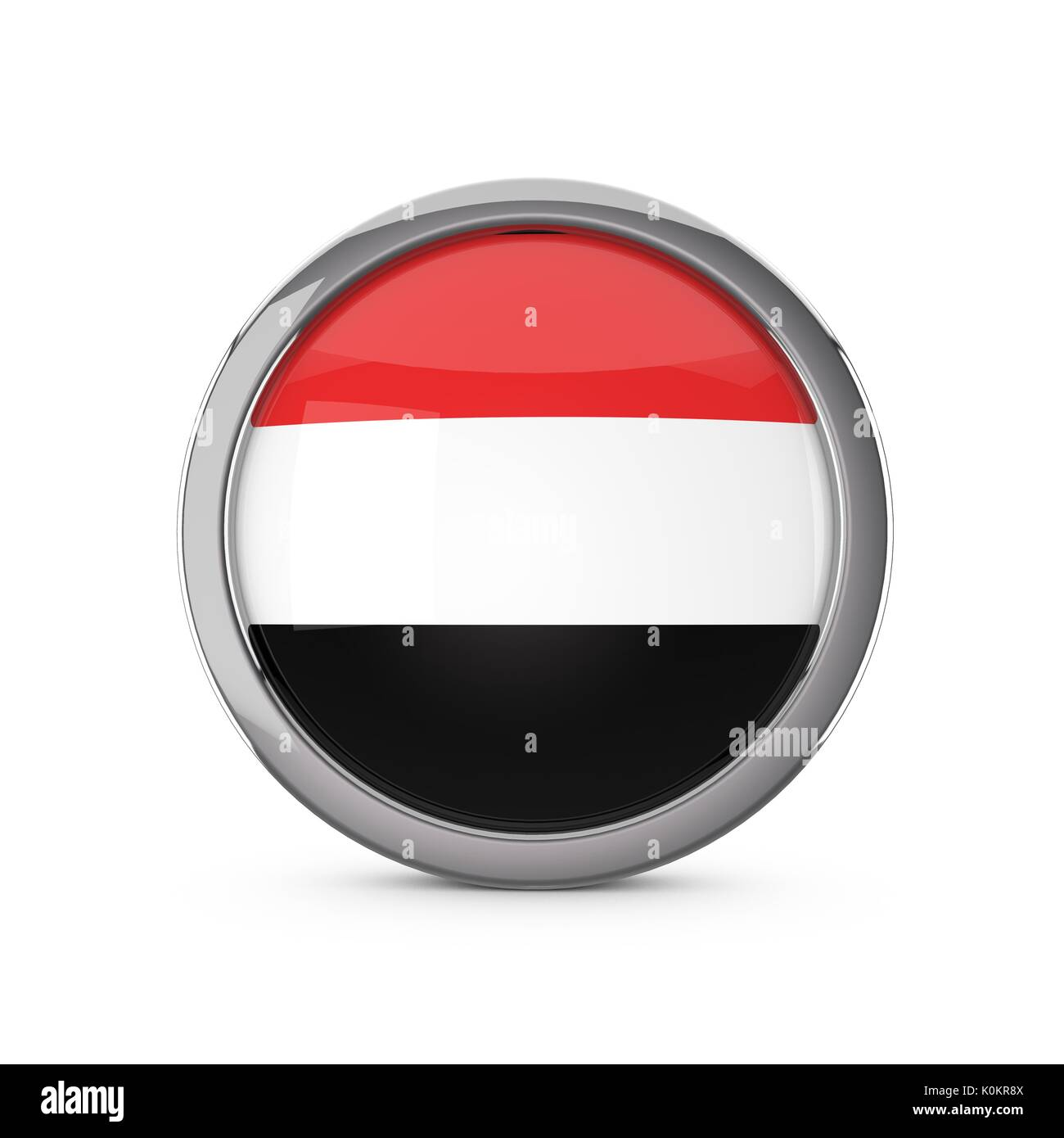 Yemen national flag in a glossy circle shape with chrome frame. 3D Rendering - Stock Image
