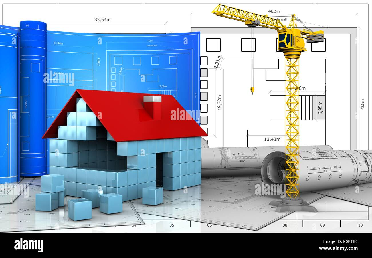 3d illustration of house blocks construction with drawing roll over