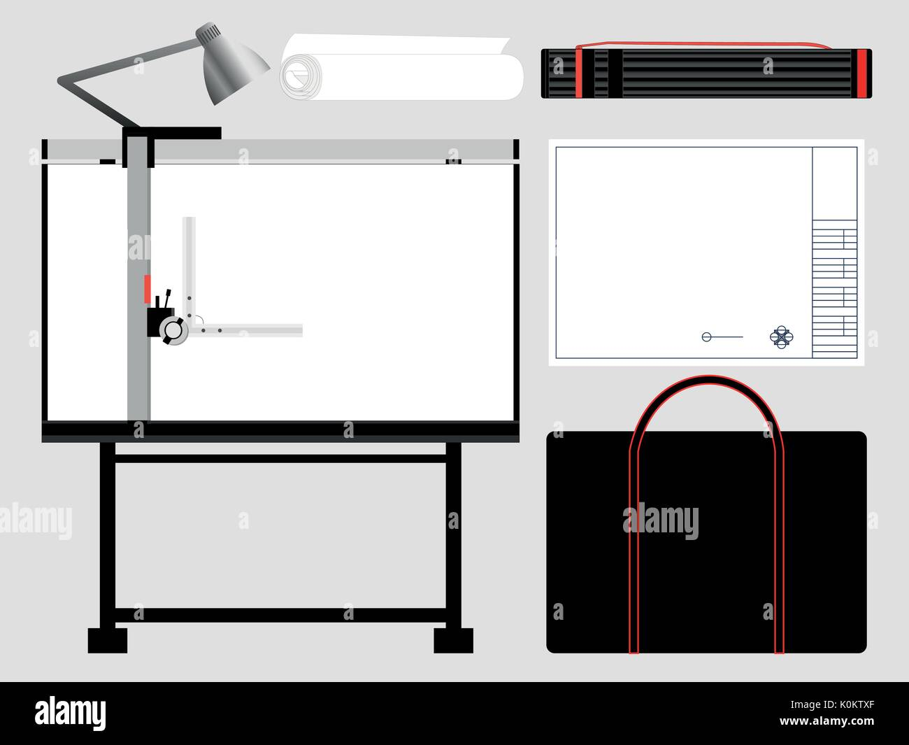 Set of isolated architect tools, drafting table. Vector illustration ...