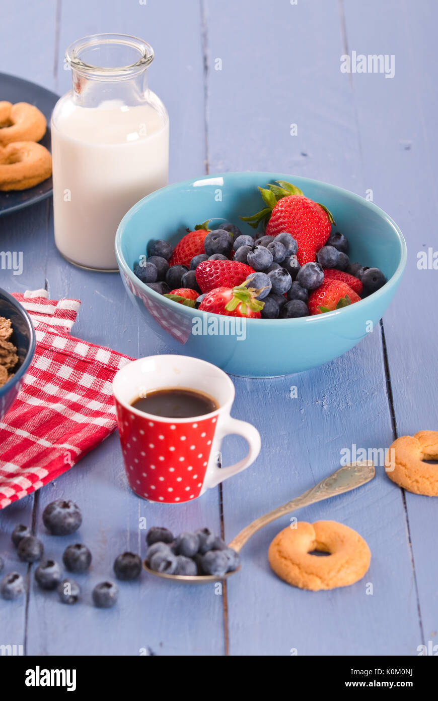 Breakfast with wholegrain cereals. - Stock Image